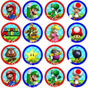 Super Mario party nes switch  Bros Stickers Birthday Party Decorations Kids Sticker Label for Birthday Baby Shower Party Supplies Cupcake Toppers AT_80_8