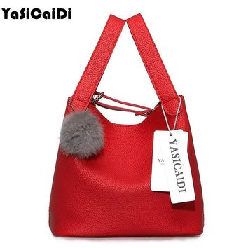 Women Solid Color Patent Leather Tote Bag With Fur Bag Charm