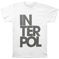 Interpol Men's  Stacked Slim Fit T-shirt White