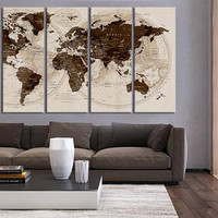 Extra Large Wall Art Push Pin World Map 5 pieces canvas  Print, Large wall decor, travel World Map home decor, world map wall decal hrt31