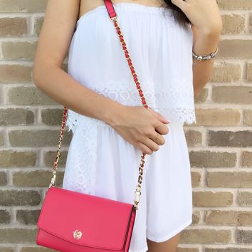 Tory Burch Parker Chain Wallet Leather Crossbody Handbag Red Ginger
