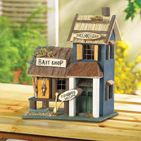 Fishing Cabin Bass Lake Lodge Lakeside Retreat Collectors Village Eucalyptus Wood Birdhouse