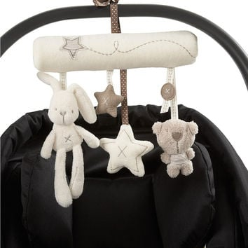 Brand New Plush Toys Rabbit Bear Star Model Music Hanging Bed Safety Seat Baby Rattles Stroller Mobile Gifts