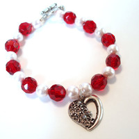 Red Beaded Bracelet Silver Heart Charm