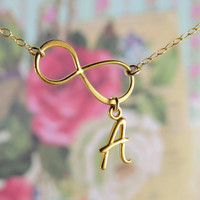 Personalized Infinity Necklace, infinity and Initial Necklace, gold initial and infinity on gold chain
