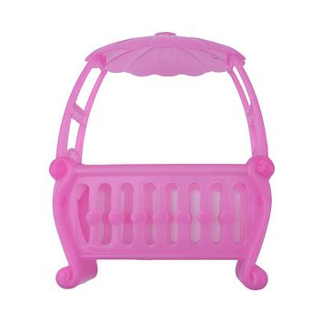Pink Baby Bed Doll Toy Fittings Cradle Bed for Barbie Girls Doll Furniture Plastic Mini Baby Doll Accessories for Girls