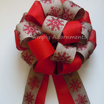 Red Burlap Snowflake Christmas Tree Top Bow Burlap Christmas Tree Topper Bow Red Burlap Gifts Topper Bow