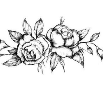 LMFON1O Day First Black Roses Temporary Tattoo