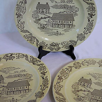 Royal Fine China Collectible Plate Set Yellow Amish Buck Country Originals