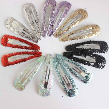 6pcs/lot Children glitter color Hair Snap Clip headwear Kids Sequins stars hair pin Girls Drop clip Hairpins hair Accessories