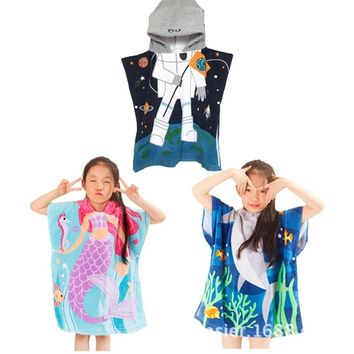 Mermaid shark bathrobe Kids Robes cartoon animal Nightgown Children Towels Hooded bathrobes L020