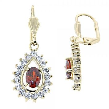 Gold Layered 5.028.020 Dangle Earring, Teardrop Design, with Orange Red and White Cubic Zirconia, Polished Finish, Gold Tone