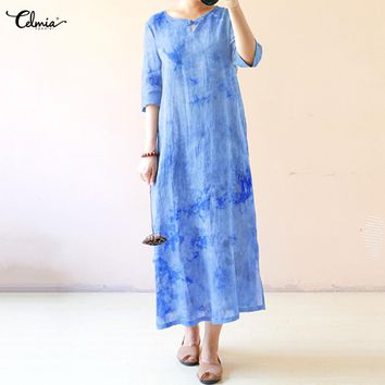 Women's Ankle-Length Tie-Dyed Rayon Summer Maxi Dress with O-Neck and Half Sleeve.   In Sizes Medium to 4XL.   Colors: Blue, Brown, Dark Green and Purple.   ***FREE SHIPPING***