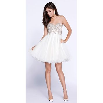 Strapless Poofy Homecoming Short Dress Appliqued Bodice Ivory