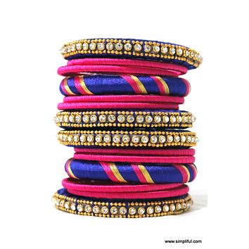 Silk Thread Party Bangles (Single/Double hand)