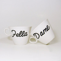 $18.00 Coffee Cup Set  Fella and Dame  His and Hers  by CyanideStitches