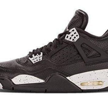"Nike Mens Air Jordan 4 Retro LS ""Oreo"" Black/Tech Grey Leather Basketball Shoes jorda"