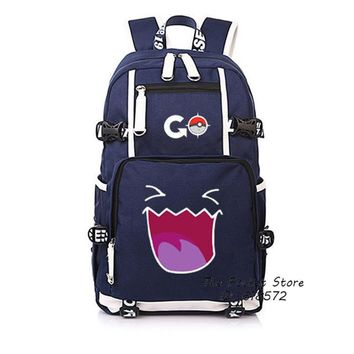 Japanese Anime Bag  Pocket Monster Pokemon Gengar Pikachu Kawaii Women Backpack Cartoon Printing Backpack Canvas School Bags Mochila Feminina AT_59_4