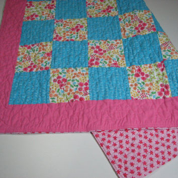 Baby Quilt , Flannel Patchwork Quilt , Pink and Blue Floral Quilt