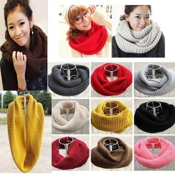 ONETOW Unisex Women Winter Warm Infinity 2 Circle Cable Knit Cowl Neck Scarf Shawl = 1945923972