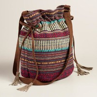Blue Carpet Woven Bucket Bag