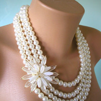 Pearl Necklace Mother of the Bride Great Gatsby Jewelry Statement Necklace Pearl Choker Wedding Necklace Bridal Jewelry Art Deco, Ivory