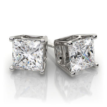 1.5CT Princess Cut Russian Lab Diamond Solitaire Stud Earrings