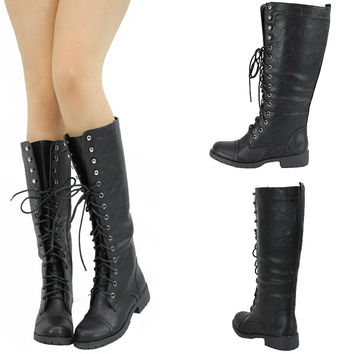 NEW BLK ROUND TOE LACE UP COMBAT MILITARY LOW FLAT HEEL MID CALF KNEE HIGH BOOTS