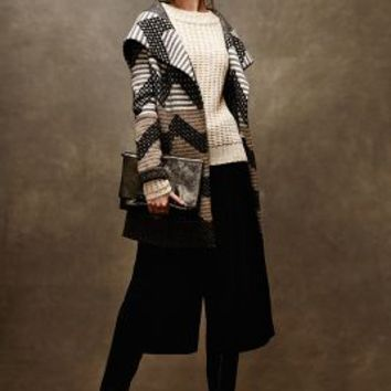 Striped Chevron Sweatercoat by Field Flower by Wendi Reed Grey Motif
