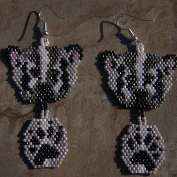 Hand Made Seed Beaded Brick Stitch Badger Earrings by wolflady