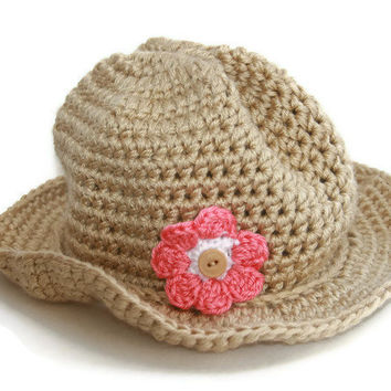 Toddler cowboy hat crochet tan with star & flower option boy or girl photo prop sizes 12 months to 4T