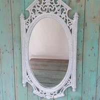 Vintage Shabby Chic Rustic Syroco Mirror Ornate Painted Antique White Distressed