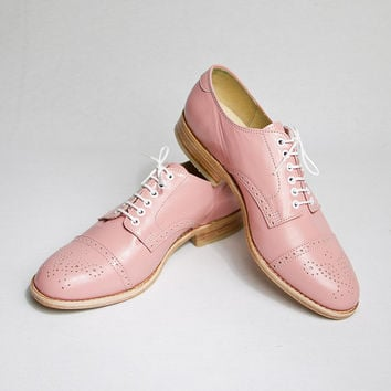pastel pink oxford brogue shoes - FREE WORLDWIDE SHIPPING
