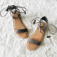 A Suede Strappy Sandal in Charcoal