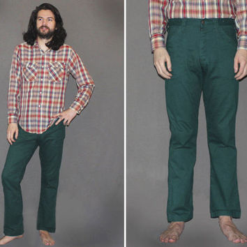 Mens Vintage 70s HUNTER GREEN FLARES / Deadstock Bell Bottom Jeans / Groovy Denim, Disco, RocknRoll / Size 32