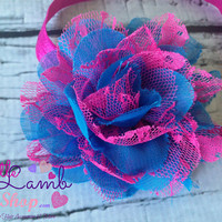 Baby Headband, Lace Head band, Hot Pink Bright Blue Flower hair band, Mesh newborn girl headband photography props, Canada