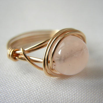 14kt Gold-Filled Wire Wrapped Rose Quartz Ring