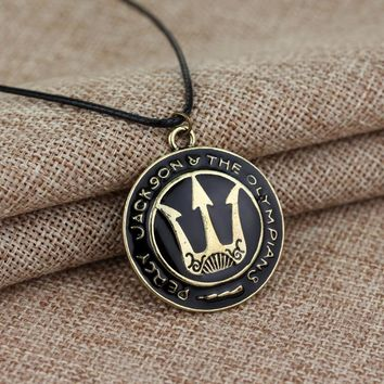 dongsheng Fashion Movie Jewelry Percy Jackson and the Olympians Trident Pendant Necklace Leather Rope Chain Round Metal Necklace