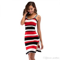 Fashion Striped Dress Women Summer Strips Sleeveless Split Dress with Pleated Ruffles Sundress