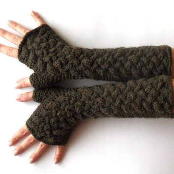 Fingerless Gloves Cable Long Knit Green Arm Warmers by Aimarro