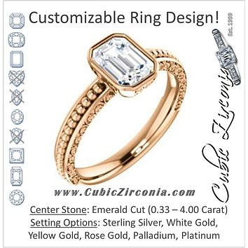 Cubic Zirconia Engagement Ring- The Cheyenne (Customizable Emerald Cut Bezel-set Solitaire with Beaded Filigree Three-sided Band)