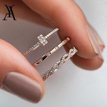 AY 3Pcs/Set Fashion Geometry Intersect Crystal Rings Set For Women Girls Engagement Wedding Rings Female Party Jewelry Gifts