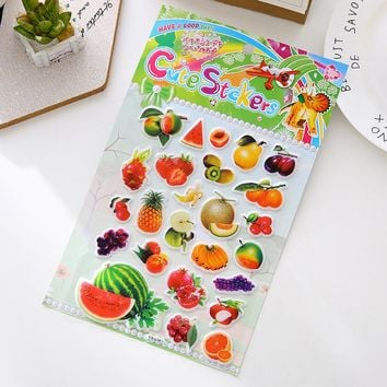 Watermelon Peach Strawberry Multi Style Fruit 3D Stickers Diary Decorative Stickers Child  Educational Cute Kawaii Sticker