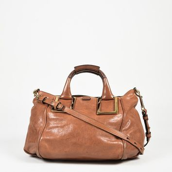 "Chloe Brown Leather Top Handle Medium ""Ethel"" Satchel Bag"