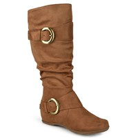 Journee Collection Womens Wide and Extra Wide-Calf Slouch Buckle Knee-High Boots