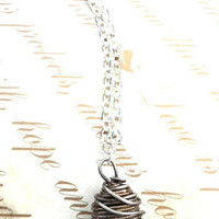 Elegant Black Glass Necklace sterling silver.