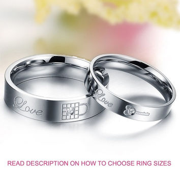 His and Her Love You Are Perfect Lock and Key Engraved Cubic Zirconia CZ Diamond Silver Titanium Ring Anniversary Band (TWO RINGS) = 1930357124