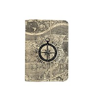 Not All Those Who Wanders Are Lost Vintage World Map Leather Passport Cover - Vintage Passport Wallet - Travel Accessory Gift - Travel Wallet for Women and Men _Mishkaa