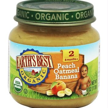 Earth's Best: Organic Baby Food Stage 2 Peach Oatmeal Banana, 4 Oz