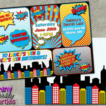 SUPERHERO INVITATION - Superhero Birthday Invitation - Superhero Party Invite - Comic Book Invitation - Super hero Party comic party DIY